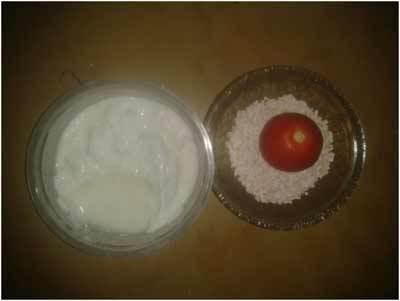 tomate, yogur y la máscara de harina de avena para la piel brillante